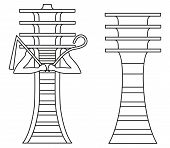 image of god  - Simple Djed pillar and Djed pillar with crook and flail - JPG