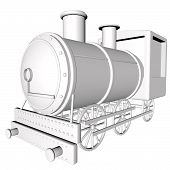stock photo of locomotive  - White steam locomotive isolated over white 3d render square image - JPG