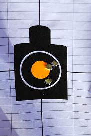 picture of shooting-range  - a shooting range target with bullet holes - JPG