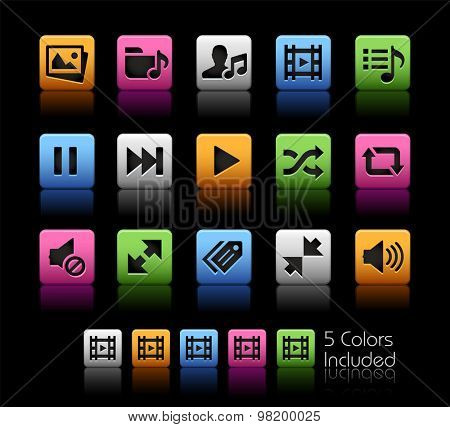Media Player Icons // ColorBox Series ---- The Vector file includes 5 color versions for each icon in different layers --