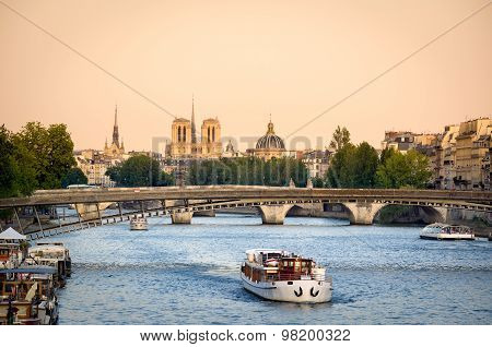 Seine River Bridges And Notre Dame Cathedral, Paris, France