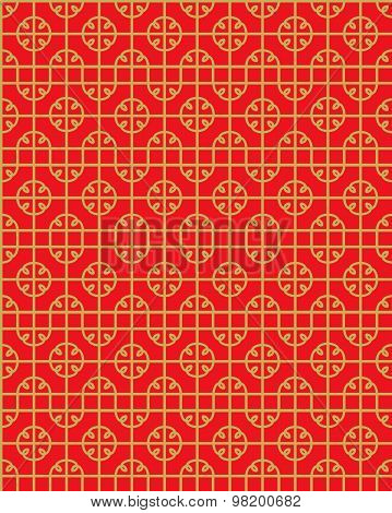 Seamless Vintage Chinese style window tracery square geometry pattern background.