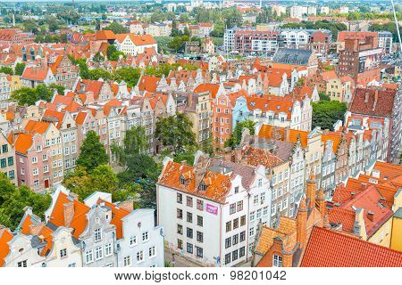 Aerial View At The Old City Of Gdansk In Poland