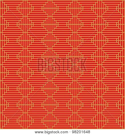 Golden seamless Vintage Chinese style window tracery square geometry pattern background.