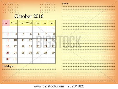 Business Calendar Grid For 2016 Year By Months. October