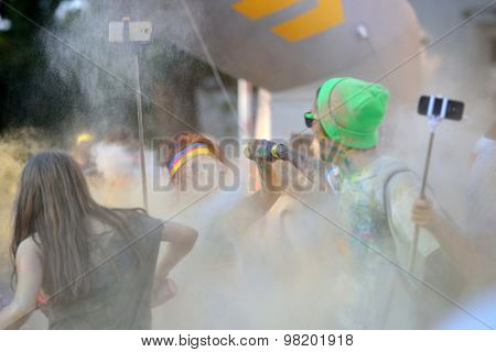MAMAIA, CONSTANTA, ROMANIA - AUGUST 1: Mamaia color run 2015, in Mamaia, Constanta, on August 1, 2015. People from all walks of life participating in the fun colored summer run