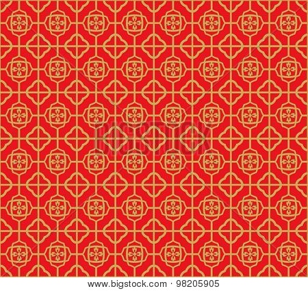 Golden seamless Vintage Chinese window tracery square flower pattern background.