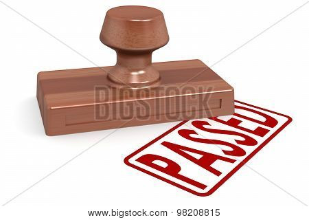 Wooden Stamp Passed With Red Text