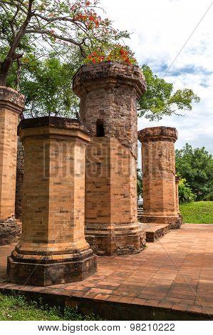 Brick columns of Po Nagar temple in Nha Trang Vietnam
