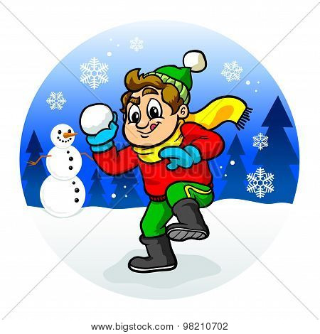 Kid Throwing Snowball