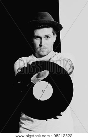 Young Man With A Vinyl Record
