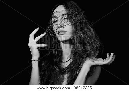 Beautiful Woman Wearing A Veil