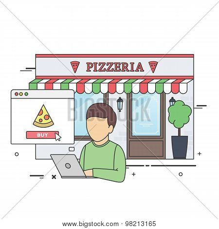 Man Buying Pizza Online