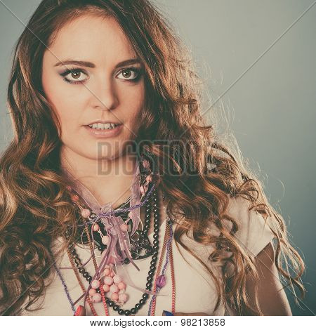 Pretty Young Woman Girl Wearing Jewelry Necklaces