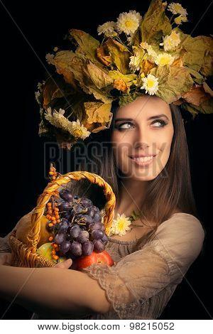 1.123RF   Big stock photo     Autumn Woman Beauty Portrait with  Flower Bouquet Portrait of a aut