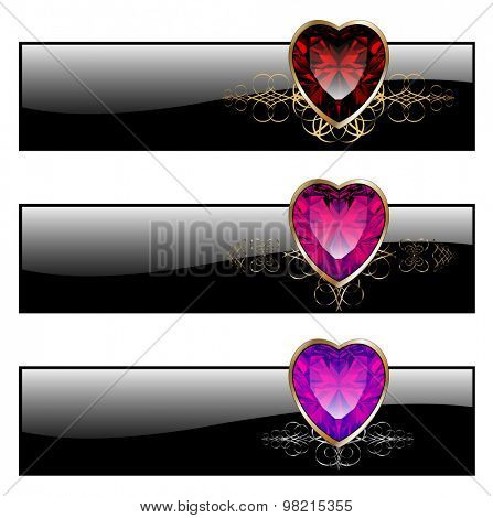Banners vintage with ruby heart, vector illustration