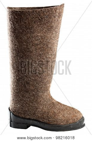 Winter Boots,  Felt Boots Isolated On White Background