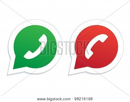 Green and red phone handset in speech bubble icon.