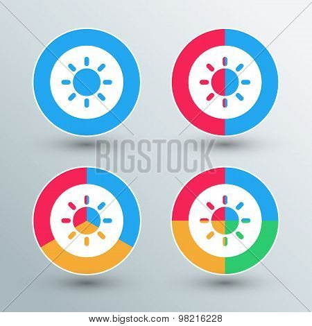 Sun sign icons. Sun sign buttons. Flat colors.