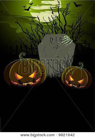 Halloween Illustration with Tombstone and Pumpkins