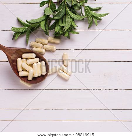 Herbs And Pills. Concept Homeopathy.
