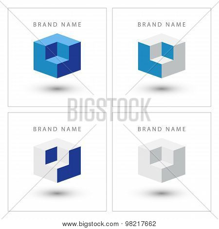 Cube isometric design logo template.