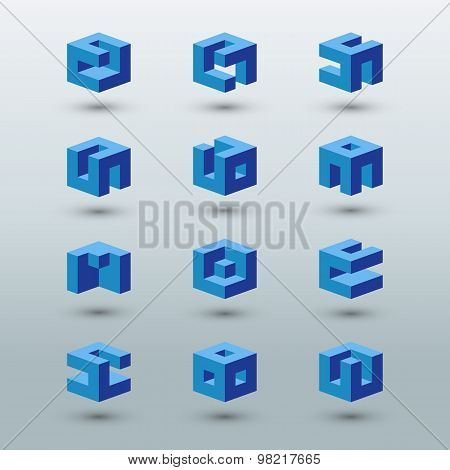 Abstract logo templates. Set of cubic shapes.