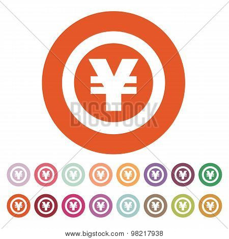 The yen icon. Cash and money, wealth, payment symbol. Flat