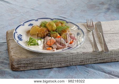 Plate Of Herring, Potato, Chive, Sour Cream, Dill And Carrot