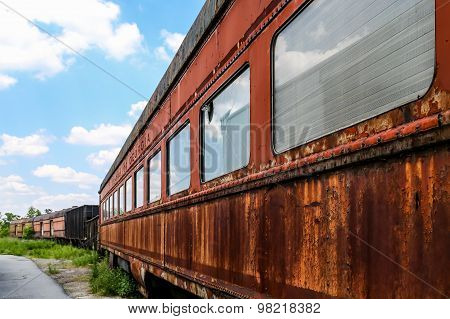 Rusty Side Of Train Cars