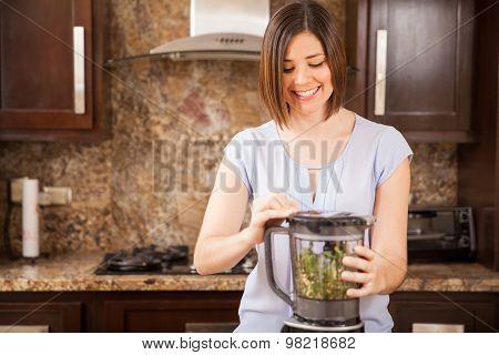 Making Green Juice In A Blender