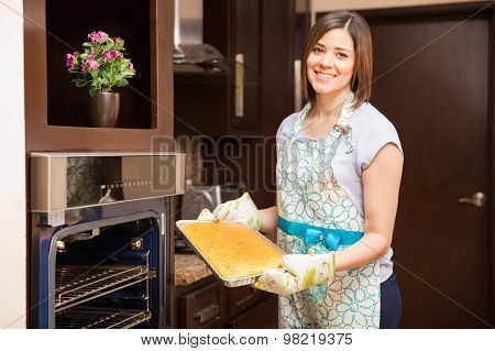 Pretty Girl Baking A Cake
