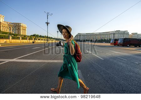Traveler in Bucharest city
