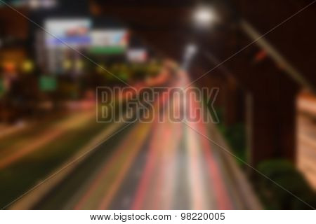 Blurred Nighttime And Transportation In Bangkok City Thailand