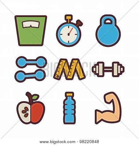 Fitness And Dieting Items Modern Flat Icons Set