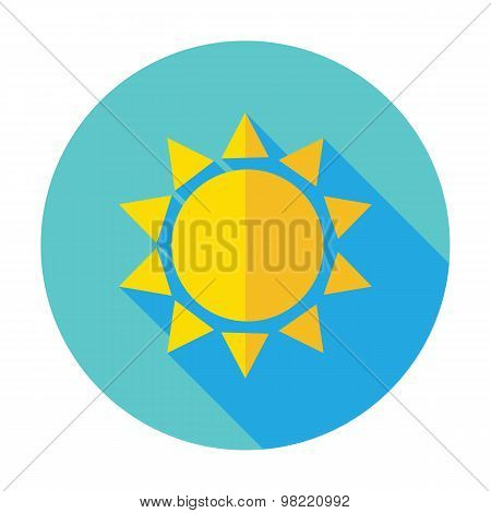 Flat Sun Sunlight Circle Icon With Long Shadow