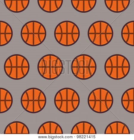 Flat Vector Seamless Sport And Recreation Pattern Basketball