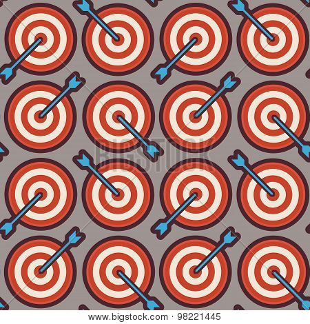 Flat Vector Seamless Sport And Recreation Target With Arrow Competition Pattern