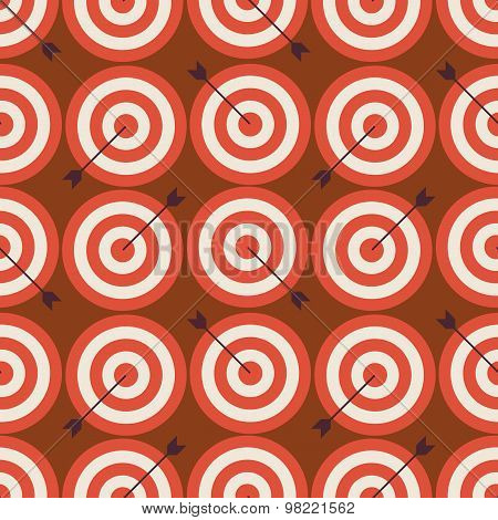 Flat Vector Seamless Sport And Recreation Target With Arrow Pattern