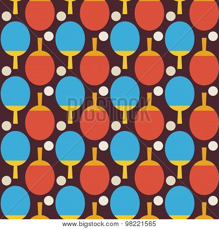 Flat Vector Seamless Sport And Recreation Tennis Ping Pong Pattern