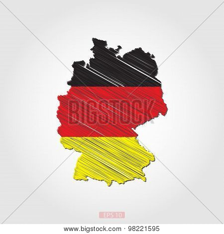 Sketch Design Flag-Map of Germany