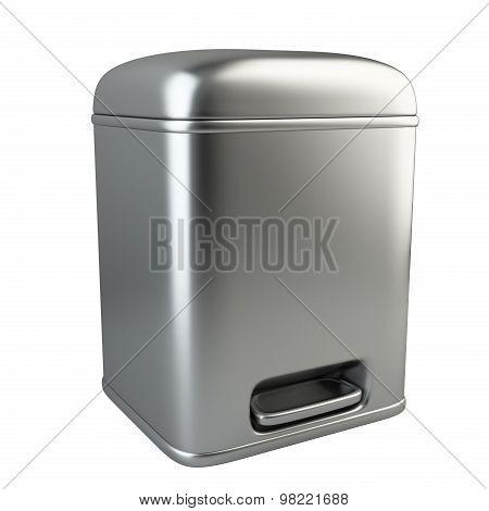 Closed Metallic Trash Can