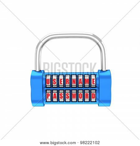 The Padlock - Username, Password. 3D Illustration On A White Background. Render.