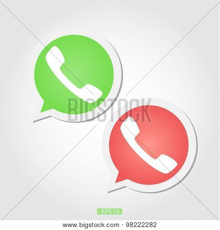two telephone sign red and green