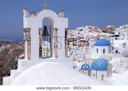 Bell Tower And Orthodox Church,  Oia, Santorini Island, Greece