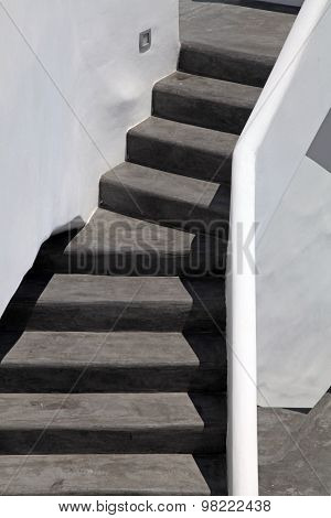 Black And White Steps In Oia, Santorini Island, Greece