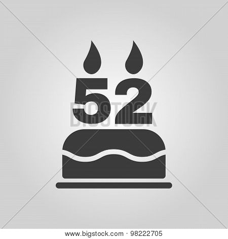 The birthday cake with candles in the form of number 52 icon. Birthday symbol. Flat