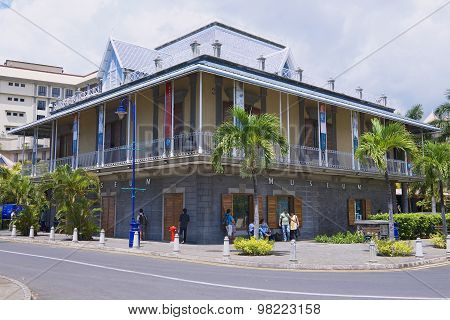 Exterior of the Blue Penny museum building in Port Louis, Mauritius.