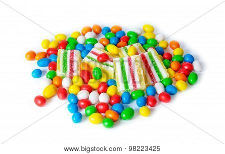 Colorful Candies And Marmalade Isolated On White