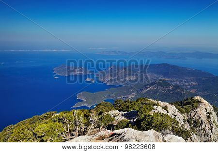 Oludeniz coast, Fethiye, Turkey, view from Babadag mountain, very popular place for paragliding